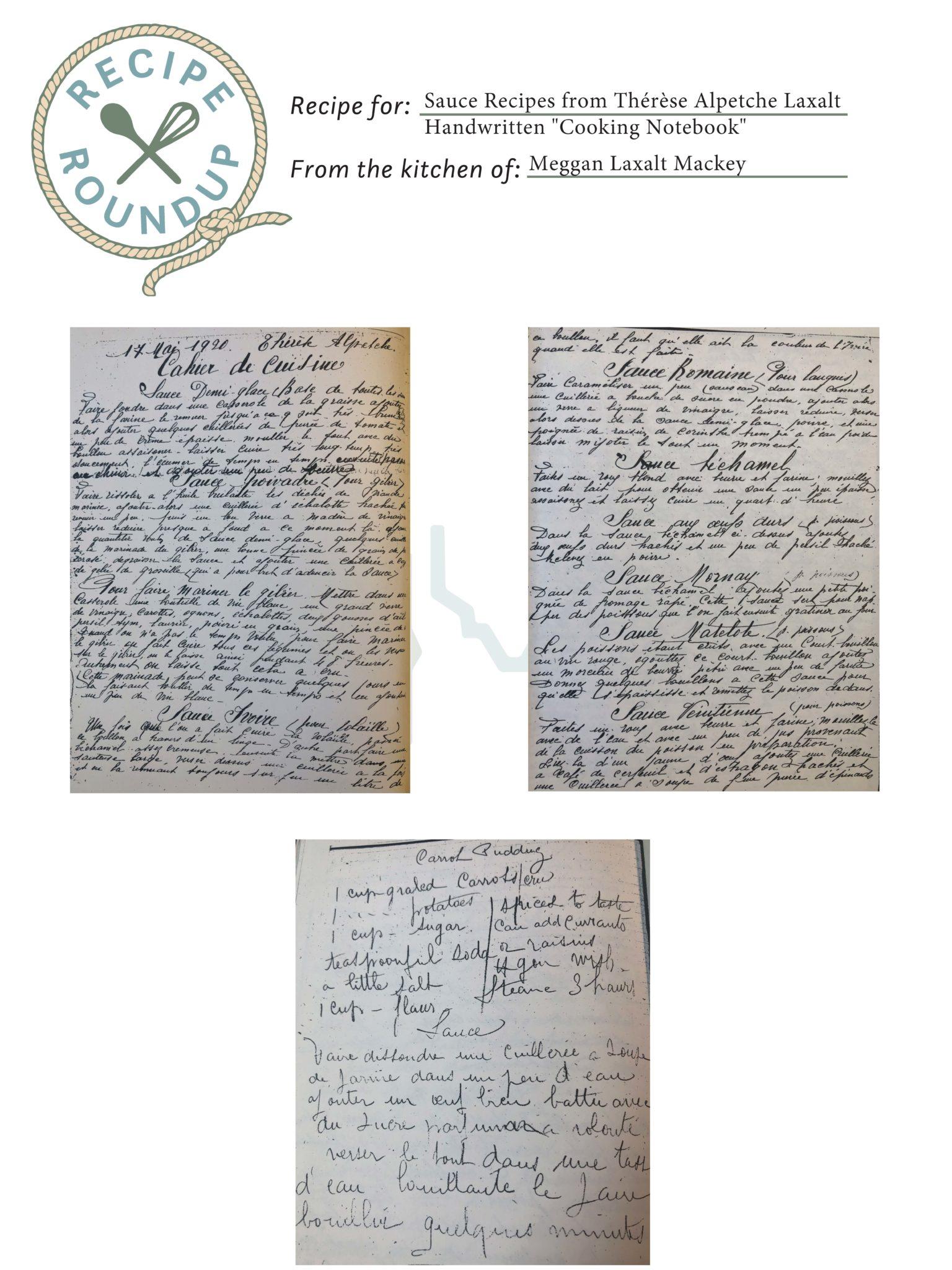 """Sauce Recipes from Thérèse Alpetche Laxalt Handwritten """"Cooking Notebook"""""""