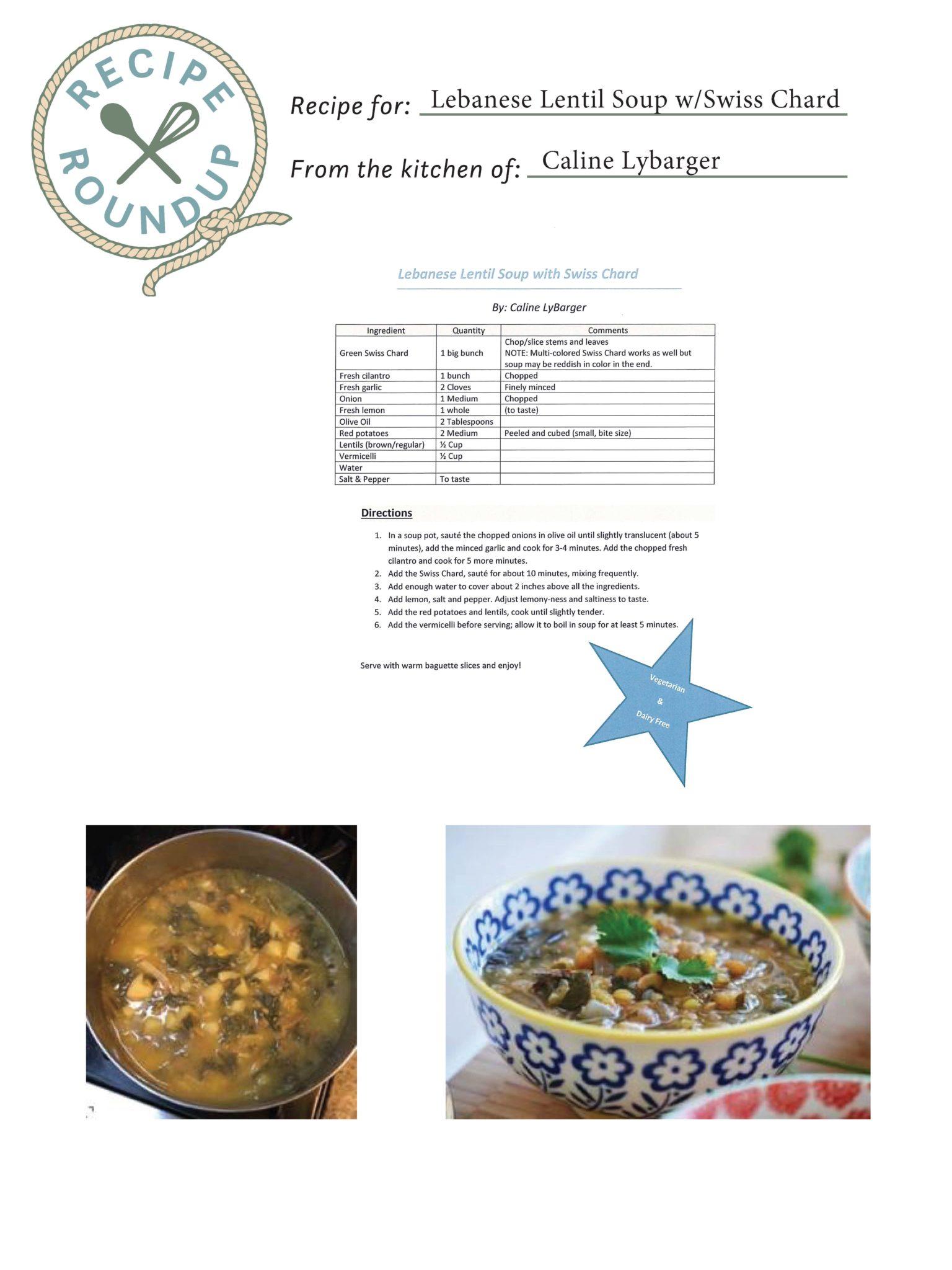 Lebanese Lentil Soup w/Swiss Chard